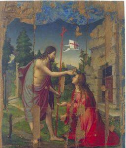 Compartiment amb l'Aparició de Crist a santa Maria Magdalena, del retaule de Santa Maria Magdalena. Catedral (després de la restauració). 1537. Francesc Olives. Oli sobre taula.